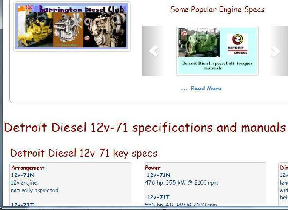 Detroit Diesel 12v71 essential specs snip