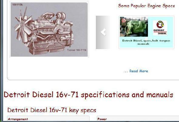 Detroit Diesel 16v71 essential specs snip