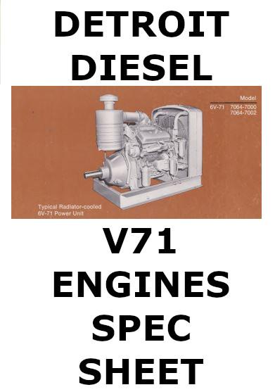 Detroit Diesel v71 engines spec sheet collection