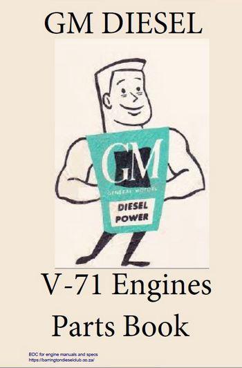 GM Detroit Diesel v71 engine parts book