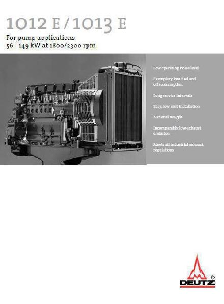 image Deutz 1012 E/1013 E Spec Sheet for power pump applications p1