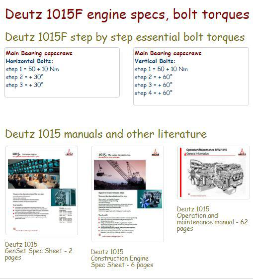 Deutz 1015 essential engine specs snip