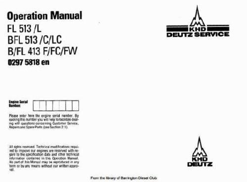 deutz 413 specs manuals and bolt tightening torques rh barringtondieselclub co za deutz f12l413 manual Deutz D6206 Tractor Operators Manual