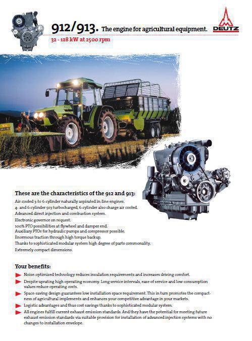 Fiche technique Deutz 913 913 pour moteurs agricoles p1