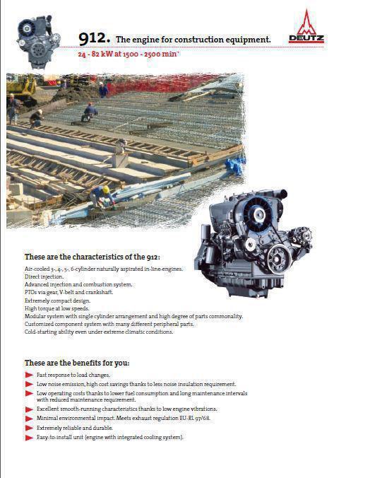 Fiche technique Deutz 913 pour moteurs de construction p1