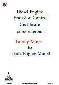 Emission Control Certificate Reference - Deutz Family Name to Model guide