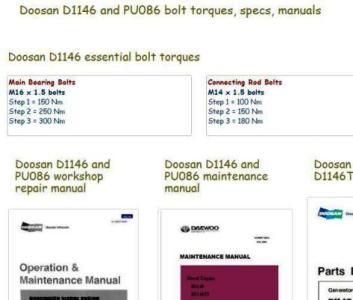 Doosan D1146 Diesel engine specs, bolt torques manuals