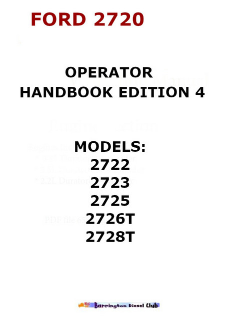 Ford 2720 operator hand book p1
