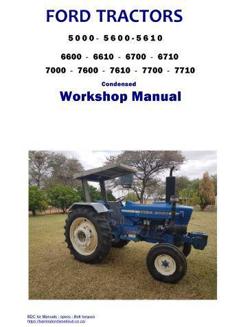 Ford 5000 tractor engine specs, bolt torques, manuals