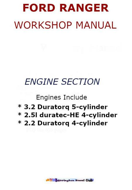 Ford Ranger Engine Workshop Manual P on Ford Ranger Torque Specifications