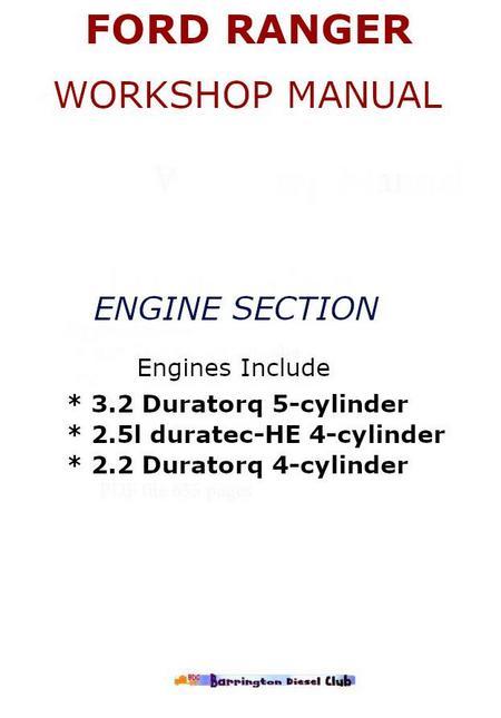 Ford Ranger engine section of workshop manual p1