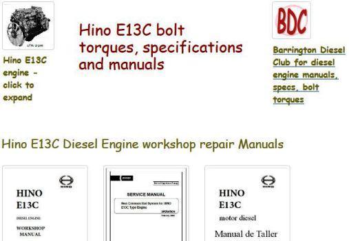 Hino E13C engine manuals, specs, bolt torques