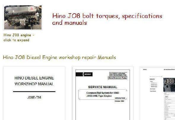 Hino J08 engine manuals, specs