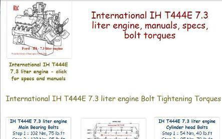 International IH 444, 7.3 liter engine manuals, specs