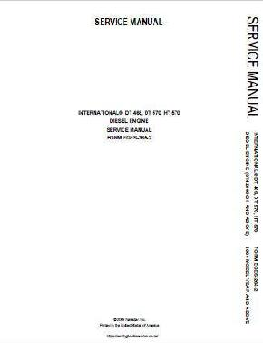 NTERNATIONAL Navistar DT466, DT570, HT570 DIESEL Engine Service Manual p1