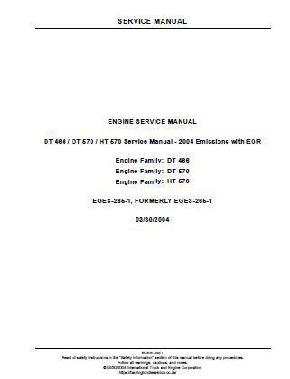 IH International Navistar DT466, DT570, HT570 Engine Service Manual p1