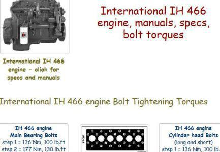 IH INTERNATIONAL Navistar DT466, DT530, DT570, HT570 engine manuals, specs