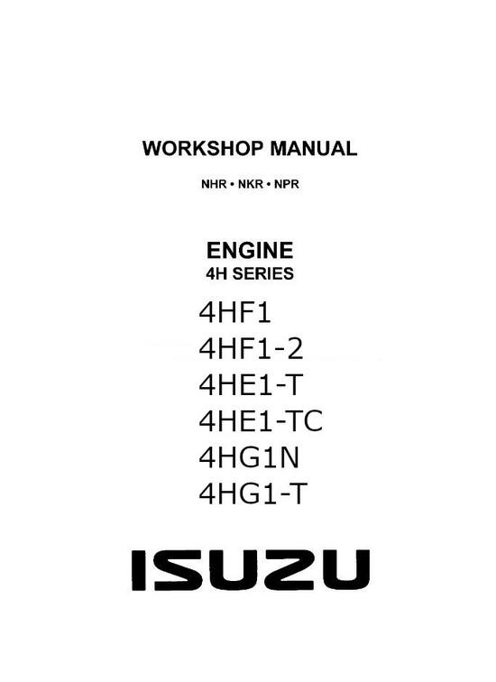 Isuzu 4H Engine specs, bolt torques and manuals
