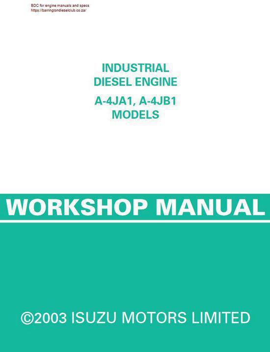 image Isuzu 4j workshop manual p1