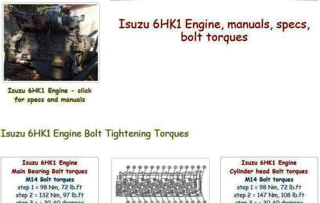 Isuzu 6HK1 specs, bolt torques