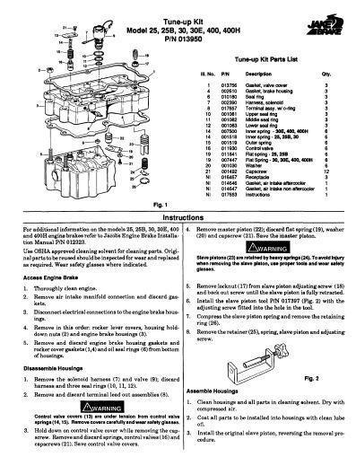 Jacobs tune-up for models 25, 25b, 30, 30e, 400 and 400h p1 of 2 pages