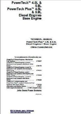John Deere 6068 components technical manual p1