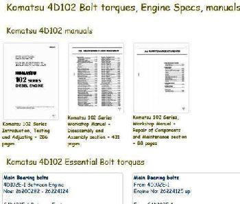 Komatsu 4D-102 Specs and manuals
