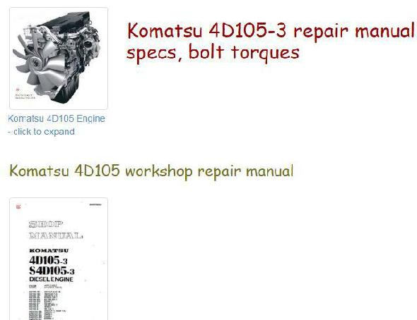 Komatsu engine index to specs, bolt torques, manuals