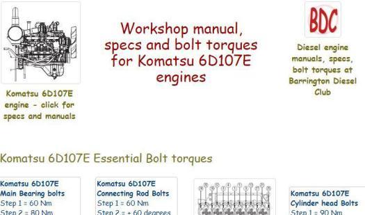 Komatsu 6D-107 Specs and manuals