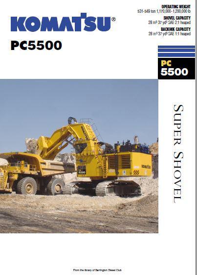 Komatsu PC5500 Spec Sheet