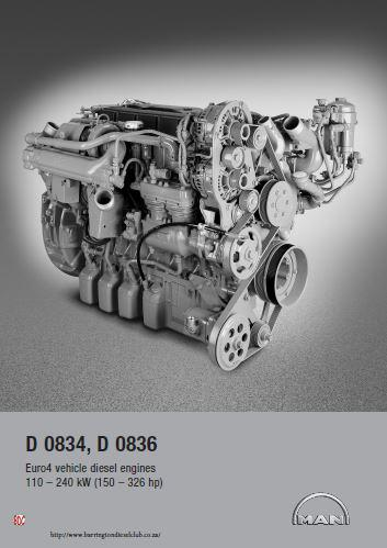 MAN D0834, D0836LE, D0836LF euro 4 spec sheet