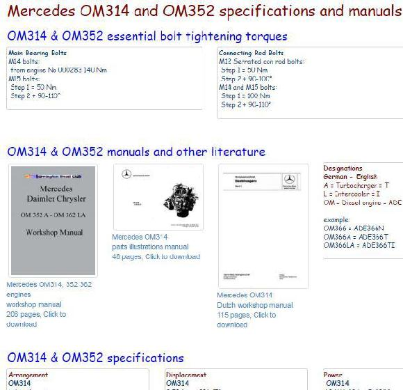 Mercedes OM314 OM352 manuals, specs and bolt torques