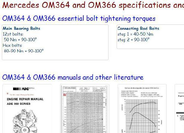 Mercedes OM366 engine specs, bolt torques, manuals