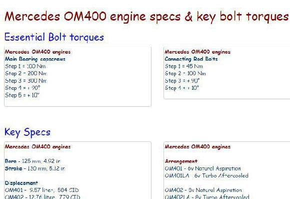 Mercedes OM400 bolt torques, specs