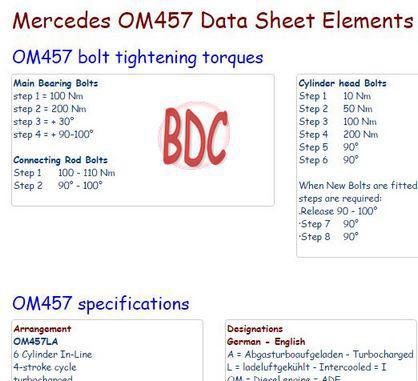 Mercedes om457 data sheet snip
