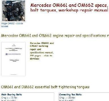 Mercedes om661 and om662 essential specs snip