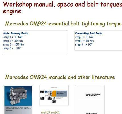 Mercedes om924 specs, bolt torques, manuals