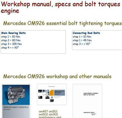 mercedes diesel engine specs bolt torques manuals