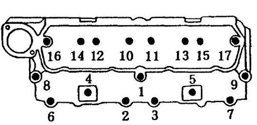 Mitsubishi 4DQ5 cylinder head bolt tightening sequence