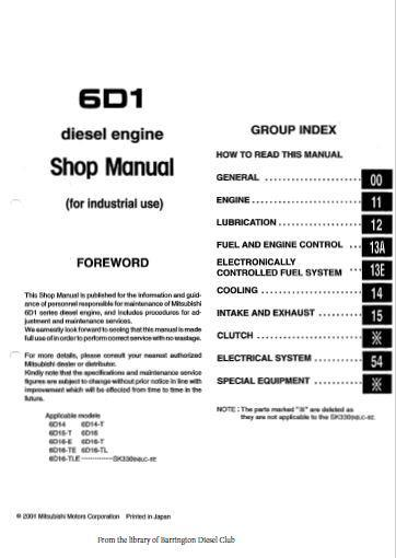 Mitsubishi 6D14, 6D15, 6D16 workshop manual, specs