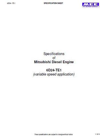 Mistubishi 6D24-te spec sheet