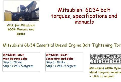Mitsubishi 6D34 Specs and Manuals