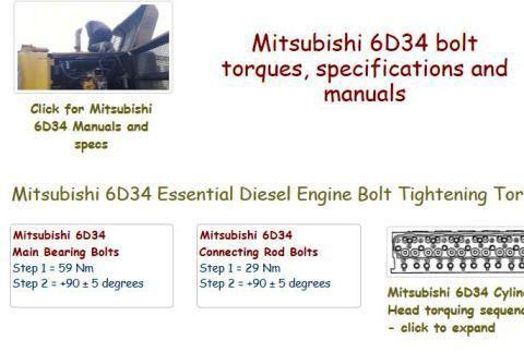 Mitsubishi 6D34 essential specs - and workshop manual