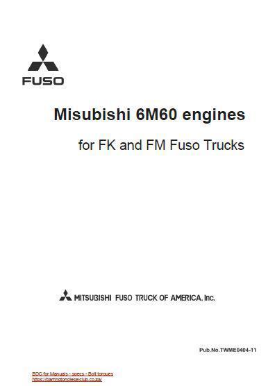 image mitsubishi Fuso 6m60 workshop Manual p1