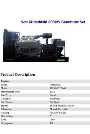 image Mitsubishi S12 genset spec sheet