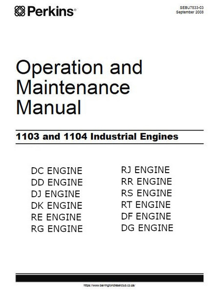Perkins 1103, 1104 operation and maintenance manual 2008 p1