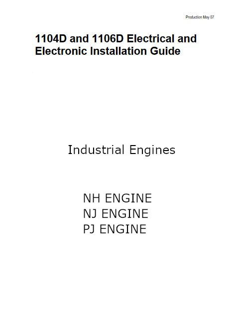 Perkins 1104-1106 PDF Electric Installation Guide p1