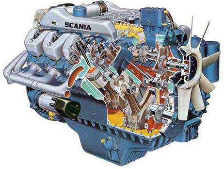 Scania DS14 - cut-away engine image