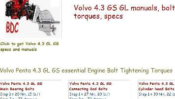Volvo Penta 4.3 GL GS workshop repair manual, bolt torques, specs