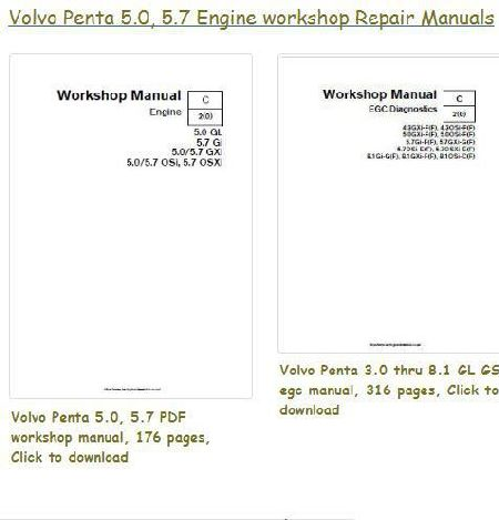 Volvo Penta 5.0, 5.7 GL GS workshop repair manual, bolt torques, specs